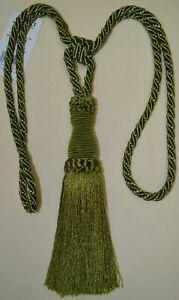 "Curtain & Chair TieBack - 26""spread w/ 7 5/8"" tassel - Navy Blue or Bright Green"