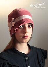 1920s 30s FLAPPER CLOCHE HAT Dusky pink velvet XS 53/54cm Gatsby Anna Chocola
