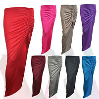 Women Ladies New Ruched Side Split Slit Maxi Gypsy Long Stretch Skirt