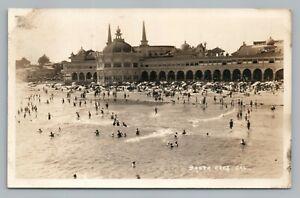 Beach Bathing & Casino SANTA CRUZ California RPPC Antique CAPITOLA Photo 1930ss