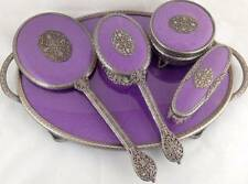Stunning Vtg Regent Of London Dressing Table Set 5 Pc Vanity Purple Silver Tray