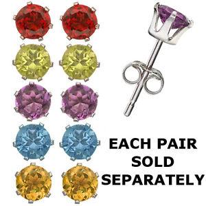 Choice of Amethyst Citrine Peridot Garnet or Blue Topaz 925 Silver Stud Earrings