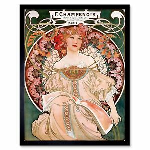 Alphonse Mucha Champenois Old Master Painting 12X16 Inch Framed Art Print