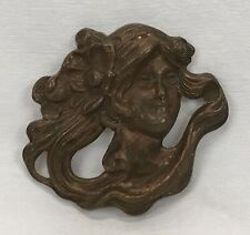 Antique Art Nouveau Mucha Figural Lady Woman Repousse Pressed Copper Finding