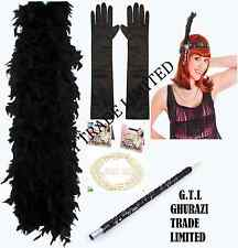 LADIES BLACK CHARLESTON 1920'S SET CIGARETTE HOLDER PEARL GLOVES BOA FANCY DRESS