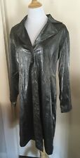 Vtg 90s Eye Candy grey snake skin all over print long rain trench coat Jacket L