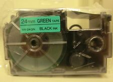 "Authentic Casio XR-24GN Black Ink on Green Tape 24mm Label Tape ( 1 x 26"")  New"