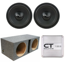 """CT Sounds Dual Bio 12"""" Subwoofer Bass Package W/ Ported Box & T-300.1 Amplifier"""