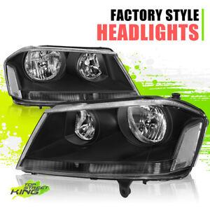 Factory Style Halogen Headlights for Dodge Avenger 08-14 Black Clear Left+Right