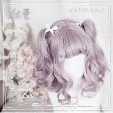 Woman Short Wig Sweet Girl Princess Cosplay Lolita Purple Gradient Kawaii Curly