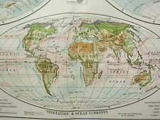 1919 LARGE MAP ~ THE WORLD IN HEMISPHERES WESTERN & EASTERN VEGETATION CURRENTS