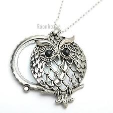 "Silver 5X Magnifying Glass Lady Owl Big Pendant 31"" Chain Necklace SJ027S"