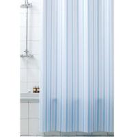 Tenda doccia ANTIMUFFA righe azzurre vinile impermeabile 3 misure anelli inclusi