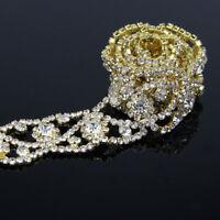 1 Yard Rhinestone Crystal Wedding Bridal Dress Costume Gold DIY Decor Trim Craft