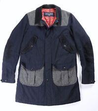 Comme des Garcons Homme Mens Navy Blue Gray Wool Blend Coat L Large $2026