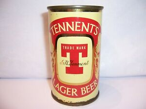 1950's Tennent's Lager Flat Top Beer Can Brewed in Scotland Top Opened   OI Lid