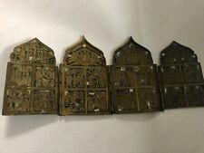 "ANTIQUE RUSSIAN ICON 4-Panel Folding Skladen ""HOLIDAYS""BRONZE 19 CENTURY ENAMEL"