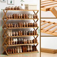 2-6 Tier Folding Shoe Rack Bamboo Wooden Shelf Stand Storage Organizer Cabinet