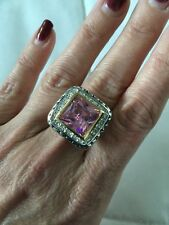 "NEW ""designer inspired"" Large Square Pink CZ Ring w cable & pave detail size 9"