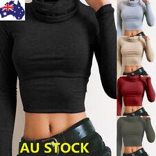 AU Women High Collar Crop Top Ladies Long Sleeve Short Tops Stretch Shirt Blouse
