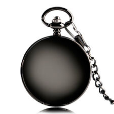 Classic Smooth Mechanical Pocket Watch Chain Roman Number Black Double Hunter