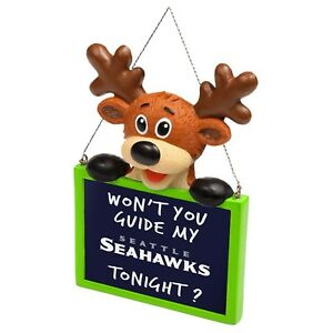 Seattle Seahawks Reindeer with Sign - Resin Holiday Christmas Tree Ornament New