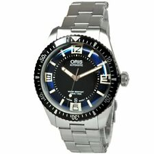 Oris Divers 65 73377074035M round black blue dial stainless belt Mens watch