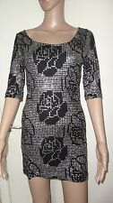 SIZE 12, EUR 40, BLACK & SILVER SEQUIN TOPSHOP MINI/SHORT DRESS , NWOT, KEYHOLE