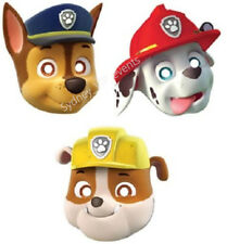 PAW PATROL FACE MASKS PAPER 8PK PARTY SUPPLIES FAVOUR TREATS MARSHALL CHASE HAT