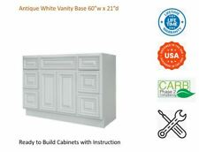 "Antique White Vanity Base Cabinet 60""W x 21""D x 34 1/2""H"