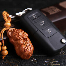 Chinese Fengshui Pi Xiu Yao Foo Dog Dragon Wood Carved Pendant Key Chain Keyring