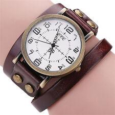 New Men Womens Leather Bracelet Watch Stainless Steel Analog Quartz Wrist Watch
