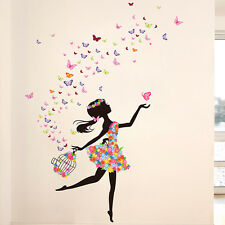 Butterfly Dancing Girl Wall Decal Vinyl Sticker Home Kids Room Decor PVC Art