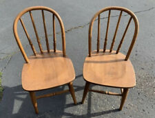 PAIR OF VINTAGE ANTIQUE CHILD SIZE WOOD WOODEN BENTWOOD COUNTRY BOW BACK CHAIRS