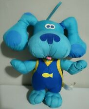 """Fisher Price Blues Clues Blue Beach Party Bath Time Dog Plush Water Toy 2001 12"""""""