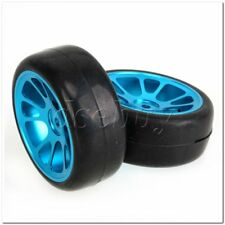 4x Smooth Rubber Tires + 10 Spokes Blue Alloy Wheel Rims for RC1:10 On-road Car
