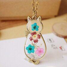 "BRONZE CAT w/ DRIED FLOWERS 1-7/8"" x 7/8"" Pendant Necklace with 28"" Adj Chain"