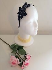 VINTAGE RETRO 1920 BEADED BLACK  FLAPPER FASCINATOR HEADBAND GATSBY RACES ASCOT