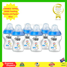 TOMMEE TIPPEE Feeding Bottles, 260ml, Blue (Pack of 6) NEW FREE SHIPPING AU
