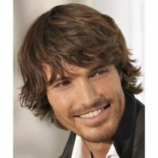 100% Real Hair!Handsome Men Natural Straight Brown Human Hair Wig Toupee