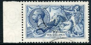 1915 De La Rue 10/- pale blue marginal, c.d.s. used Spec No N70(4).