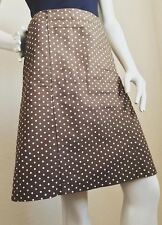 DKNY Brown Polka Dot Cotton A Line Skirt Work Modest Size 4