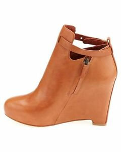 ELIZABETH and JAMES~$375 New Cognac Leather PERI Wedge Bootie Shoes Boots 9.5