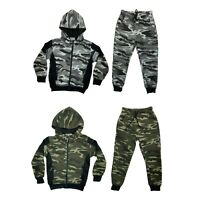 Boys Kids Tracksuit Camouflage Jacket Joggers Jogging Bottoms Camo Outfit Set