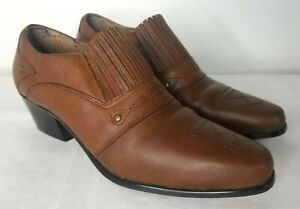 Dingo Brown Leather Ankle Boots Booties Womens 8.5 M Pointed Toe Western Cowgirl