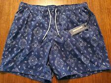NWT Men Abercrombie & Fitch Swim Trunks Medium Blue Bandana Pattern Shorts Lined