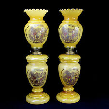 Antique European Oil Lamps, Glass, Pair