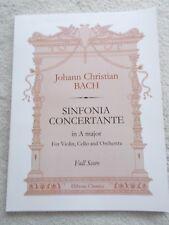 JC Bach Sinfonia Concertante Full Score Violin Cello Orch Unused