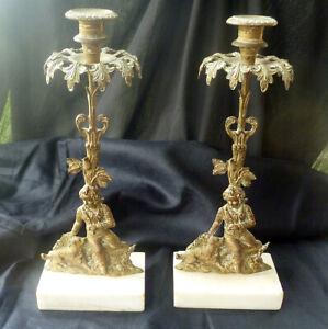 E164 ~ antique Pair Girandole Candlesticks with Boy & Dog