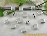 30pcs Tibetan silver 2 holes square spacer beads FC8640
